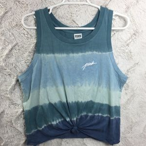 VS PINK Tie Dye Knotted Front Muscle Tee Blue M